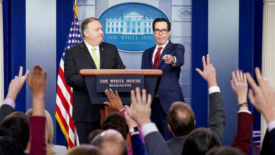 US Secretary of State Mike Pompeo and Treasury Secretary Steven Mnuchin take questions as they announce new sanctions on Iran in the Brady Press Briefing Room of the White House in Washington, DC, on Jan. 10, 2020.