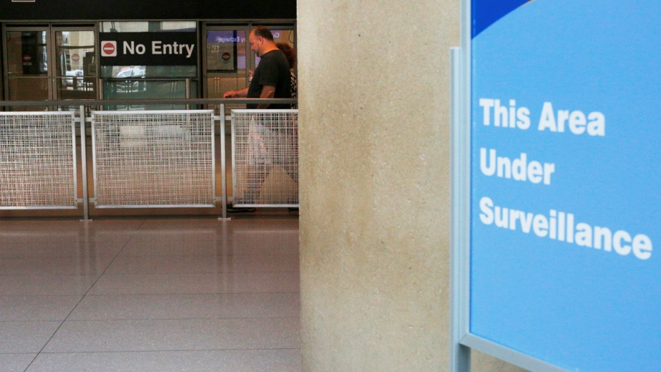 A security sign at Logan International Airport