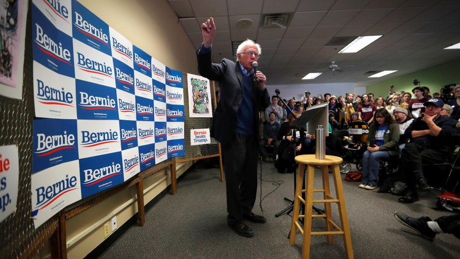 Democratic US presidential candidate Sen. Bernie Sanders speaks to supporters and volunteers at a campaign field office in Iowa City, Iowa, Feb. 2, 2020.