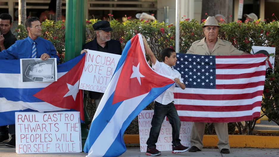 Cuban Americans protest Raul Castro leaving office as Cuba's president and Miguel Diaz Canel named as the new president, in Little Havana neighborhood in Miami, Florida