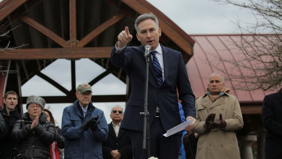 King County Executive Dow Constantine speaks during a vigil in honor ofan immigrant from India who wasshot and killed in Kansas, in Bellevue, Washington, on March 5, 2017.