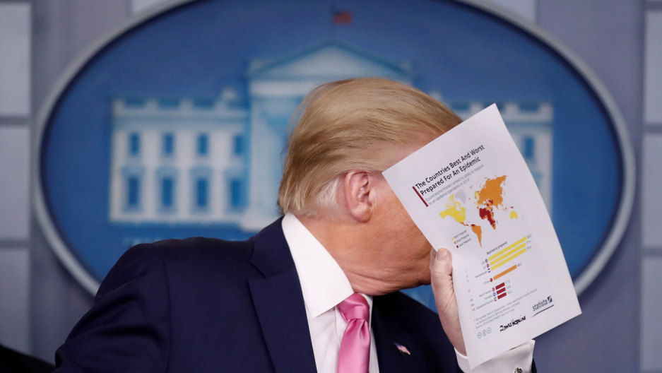 US President Donald Trump is shown hiolding a paper in his hand and covering his face.
