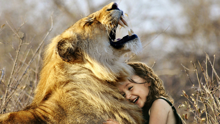 Child hugging lion, roar