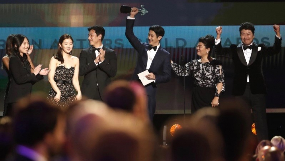 "The cast of ""Parasite"" accepts the award for Outstanding Performance by a Cast in a Motion Picture during the 26th Screen Actors Guild Awards in Los Angeles,  Jan. 19, 2020."