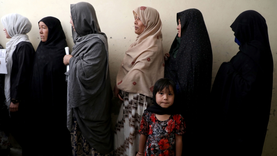 Afghanwomenline up at a polling station as they wait to cast their votes in Kabul,Afghanistan, on Sept.28, 2019.