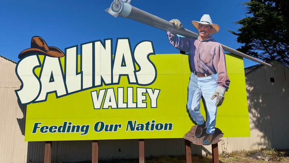A sign in Salinas, California's rural heartland, which is home to tens of thousands of immigrant farmworkers.