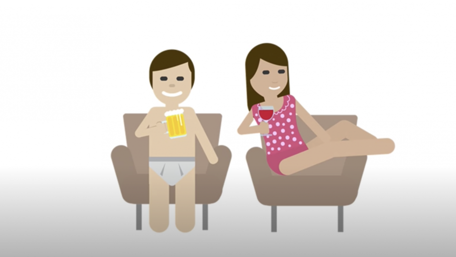 emojis of a man and a woman in their underwear having a drink.