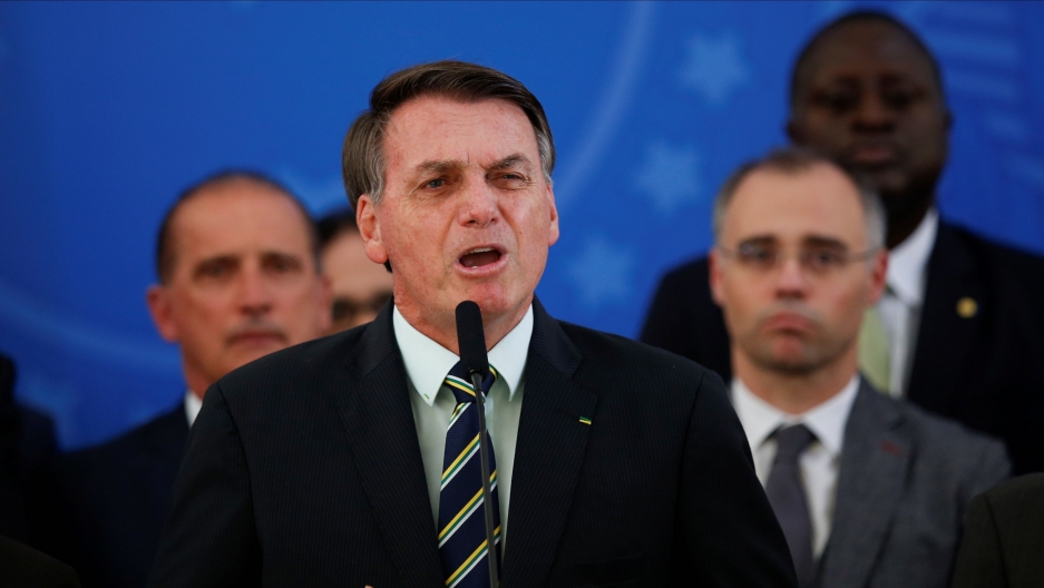 Brazil's President Jair Bolsonaro reacts while addressing the media during a news conference at the Planalto Palace in Brasilia, Brazil, April 24, 2020.