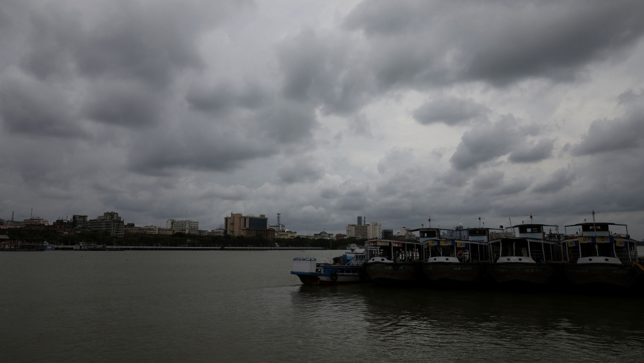 Clouds cover the skies over the river Ganges ahead of Cyclone Amphan, in Kolkata, India, May 19, 2020.