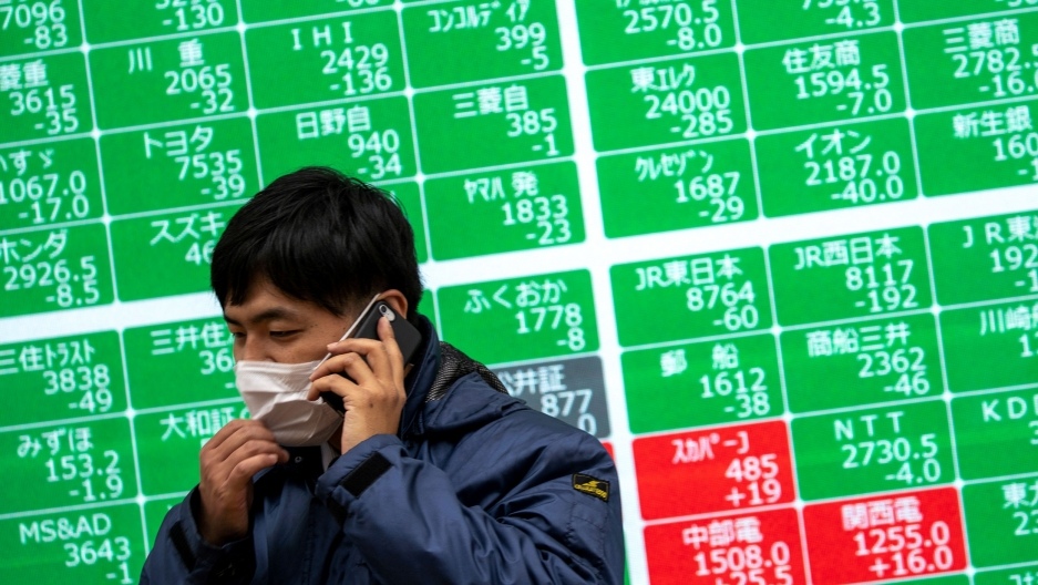 A man wears a blue jacket and a protective face mask while speaking on a mobile phone in front of a green and red stocks sign.