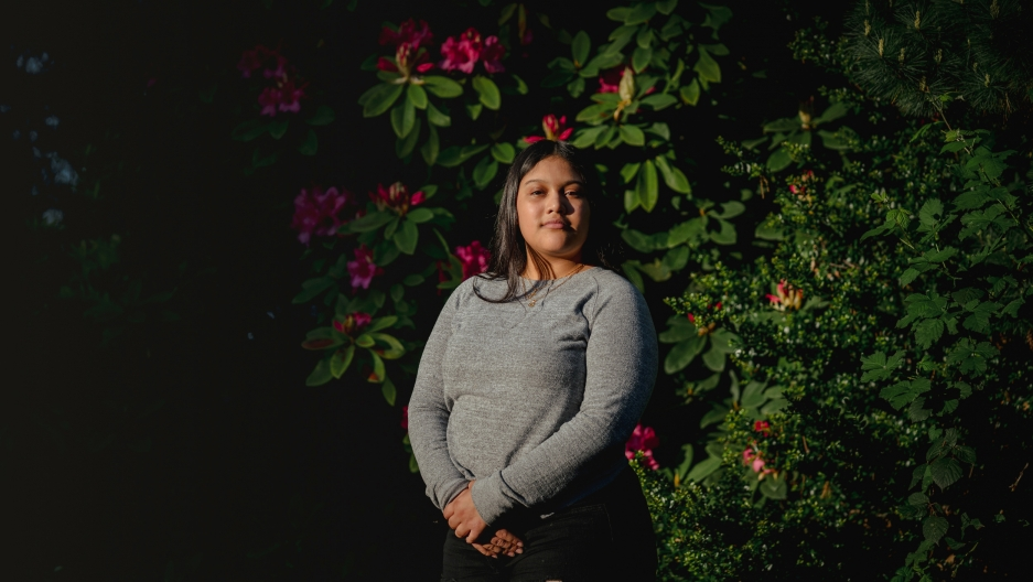 Michelle Aguilar Ramirez stands for a portrait on Monday, May 18, 2020, in South Seattle, Wash.