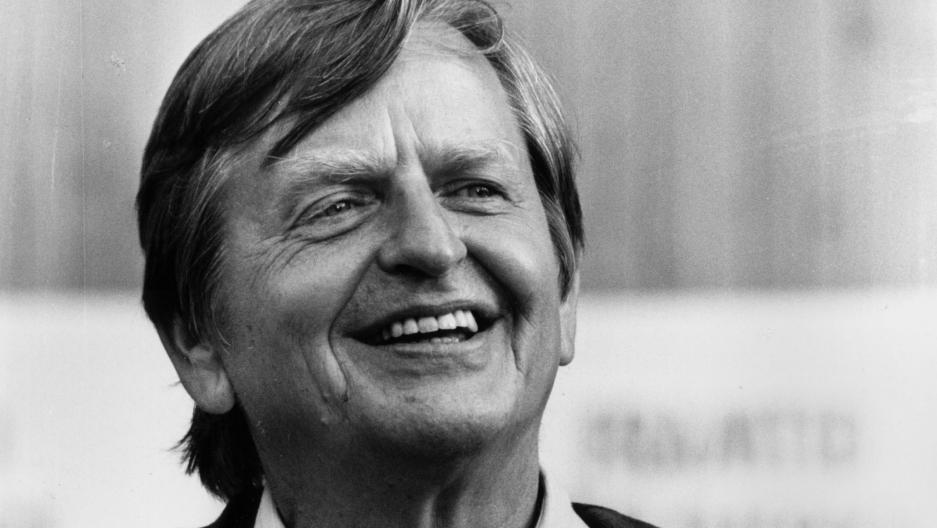 A black and white portrait photograph of Olof Palme.