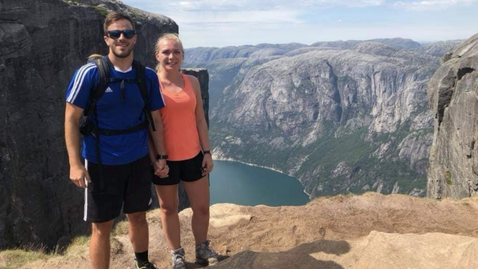 Luke DeBoer, left, and fiancée Ida Marie Rygg on a trip to Kjerag mountain in Norway. Closed borders during the coronavirus pandemic separated them for months.