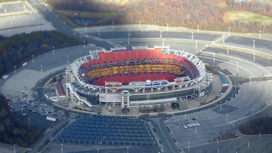 Fedex Field, home of the Washington's NFL team in Landover, Maryland,is seen from Air Force One, 2013.