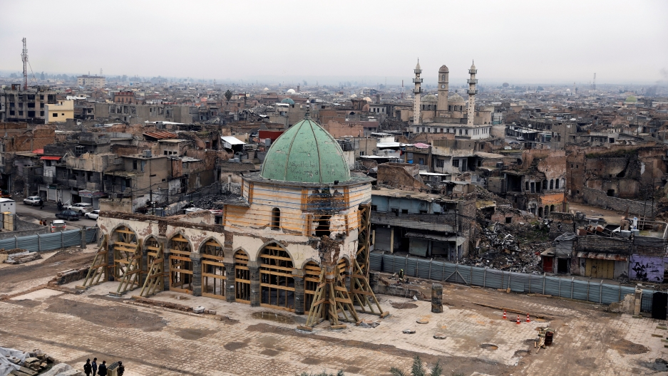 A general view of the Grand al-Nuri mosque during its reconstruction, in the old city of Mosul, Iraq, Jan. 23, 2020.