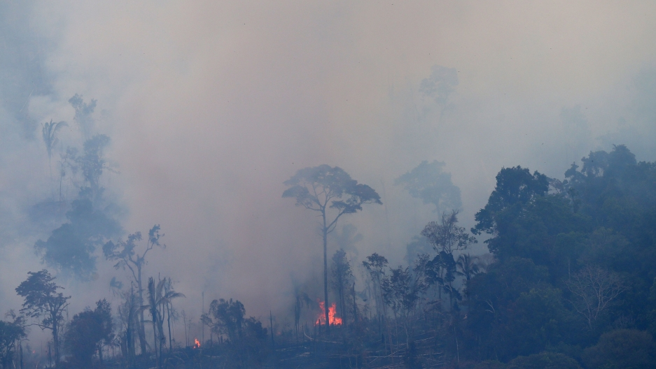 An aerial view of a tract of Amazon jungle burning as it is cleared by farmers in Itaituba, Para, Brazil, Sept. 26, 2019.