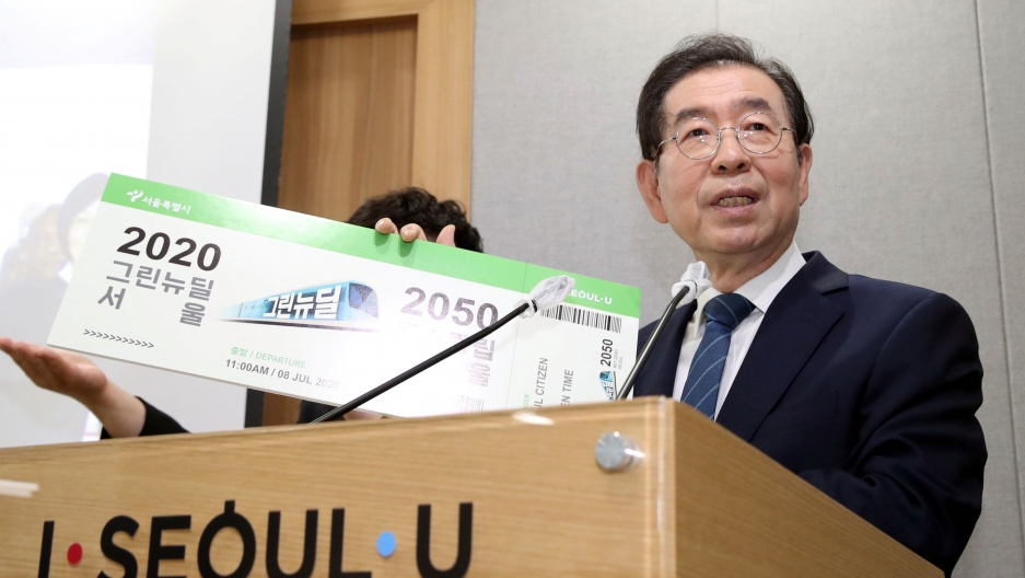 Mayor Park Won-soon speaks during an event at Seoul City Hall in Seoul, South Korea, July 8, 2020.