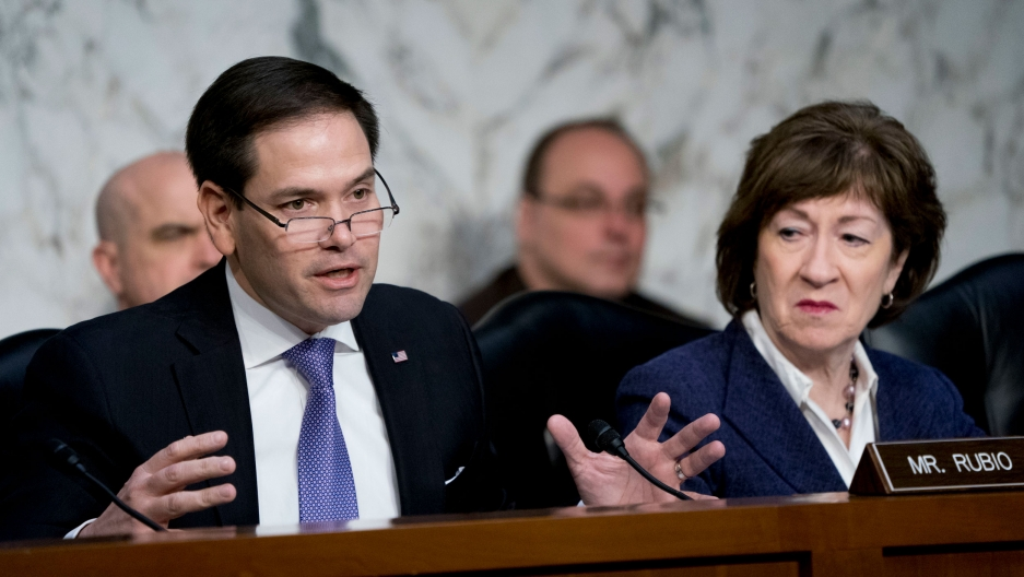 Sen. Marco Rubio is shown with his hands outstretched and seated at a desk wearing a purple tie and dark jacket.