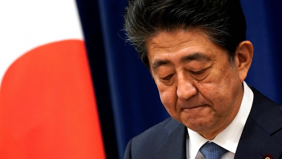 Japanese Prime Minister Shinzō Abe reacts during a news conference at the prime minister's official residence in Tokyo, Aug. 28, 2020.