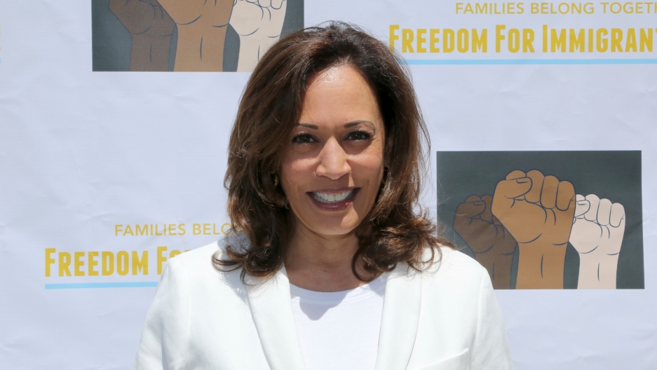 "United States Senator for California Kamala Harris attends the ""Families Belong Together: Freedom for Immigrants"" March in Los Angeles, June 30, 2018."