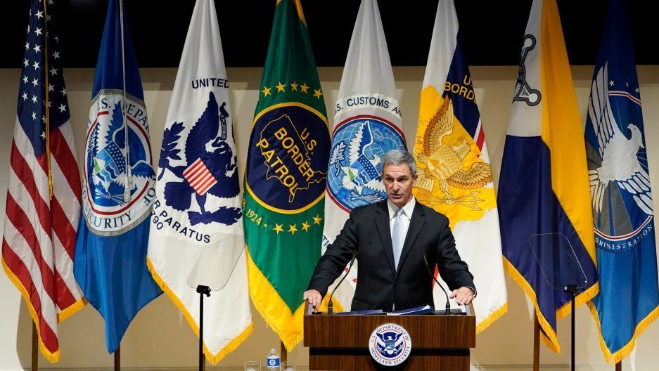 Department of Homeland Security acting Deputy Secretary Ken Cuccinelli speaks during an event at DHS headquarters in Washington, Sept. 9, 2020.