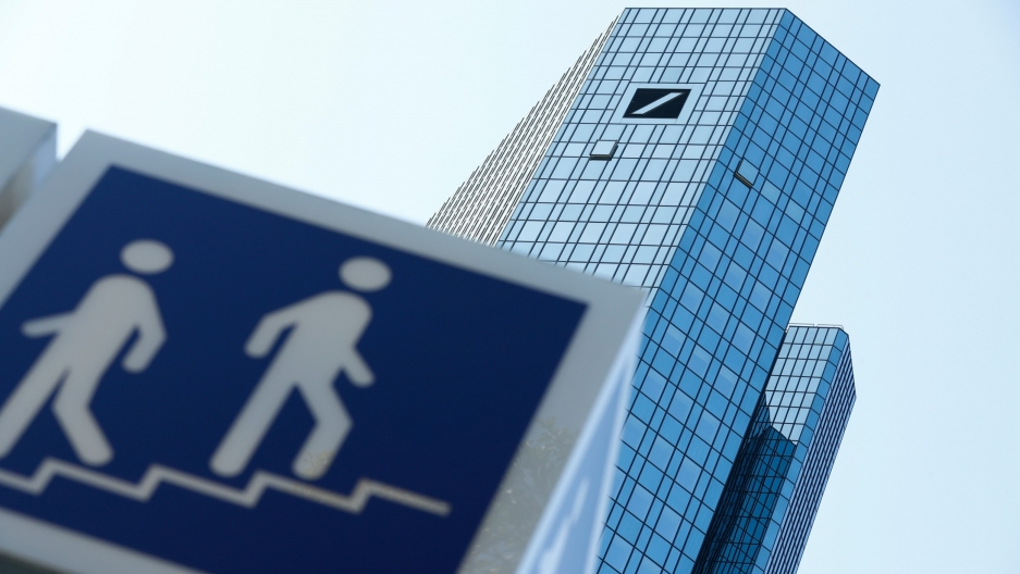 The skyscraper headquarters of Germany's Deutsche Bank are pictured in Frankfurt, Germany, Sept. 21, 2020.
