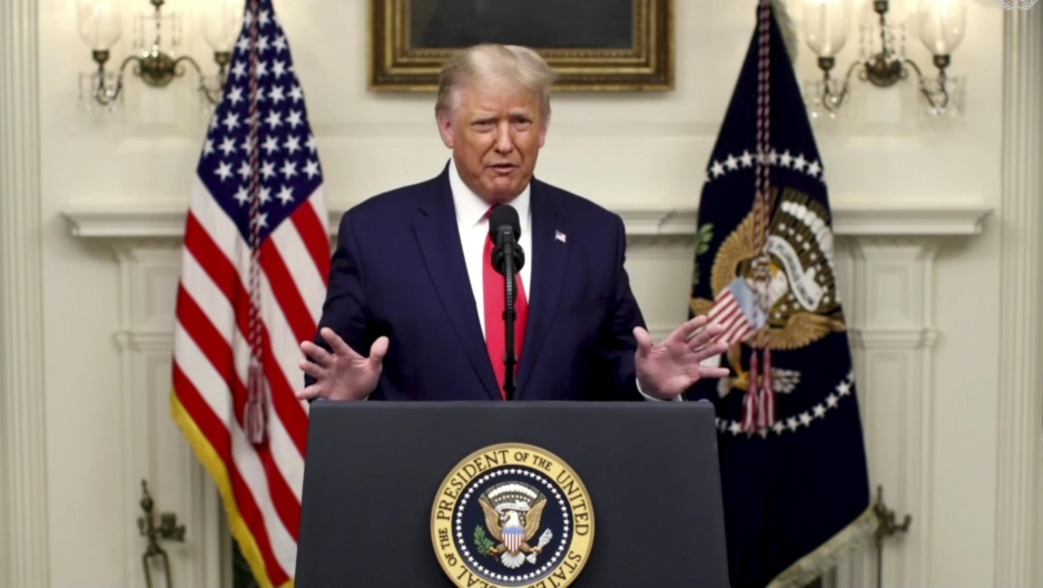 In this image made from UNTV video, US President Donald Trump speaks in a pre-recorded message which was played during the 75th session of the United Nations General Assembly, Sept. 22, 2020, at the United Nations headquarters in New York.