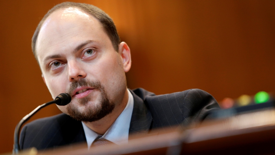 "In this file photo, Russian opposition leader Vladimir Kara-Murza, vice chairman of Open Russia, testifies before the Senate Appropriations subcommittee on State, Foreign Operations and Related Programs about ""Civil Society Perspectives on Russia"" on Capi"