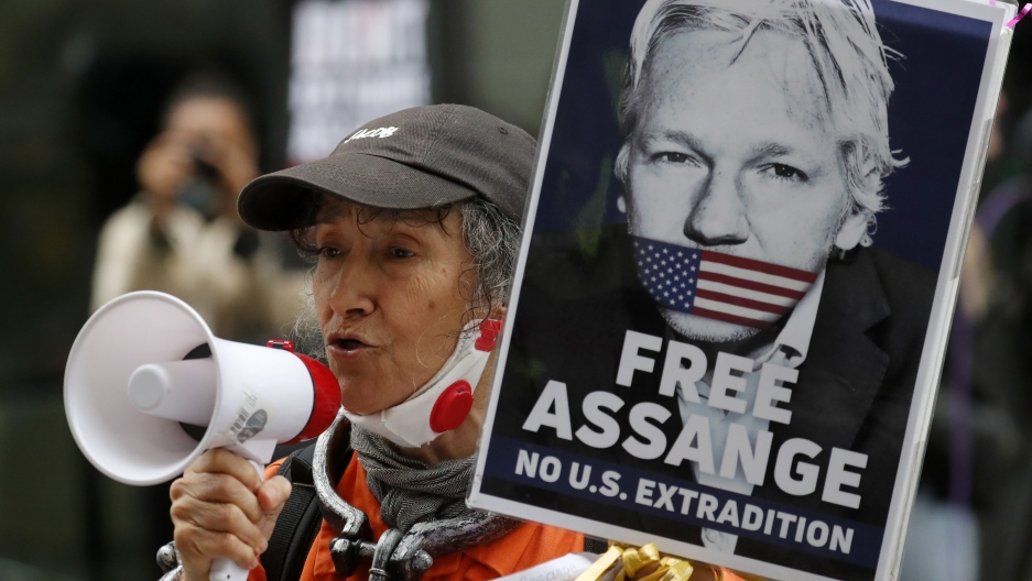 Julian Assange supporters protest outside the Old Bailey in London, United Kingdom, Sept. 7, 2020.