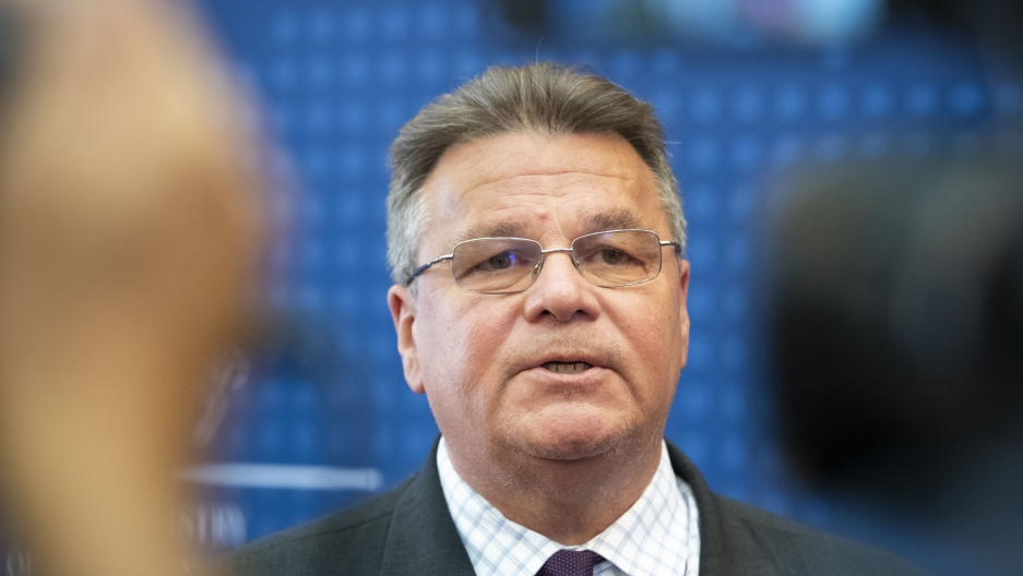 A close-up photo of Lithuania's Minister of Foreign Affairs Linas Linkevicius as he answers questions during a meeting with the press in the Ministry of Foreign Affairs in Vilnius, Lithuania, Aug. 11, 2020.