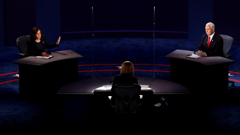 Democratic vice presidential nominee Sen.Kamala Harris and USVice President Mike Pence participate in their 2020 vice presidential debate in Salt Lake City, Utah.
