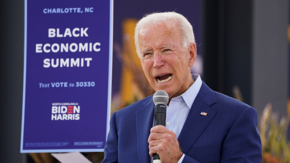 """Democratic USpresidential nominee Joe Biden speaks at an outdoor """"Black Economic Summit"""" while campaigning for president in Charlotte, North Carolina,Sept.23, 2020."""