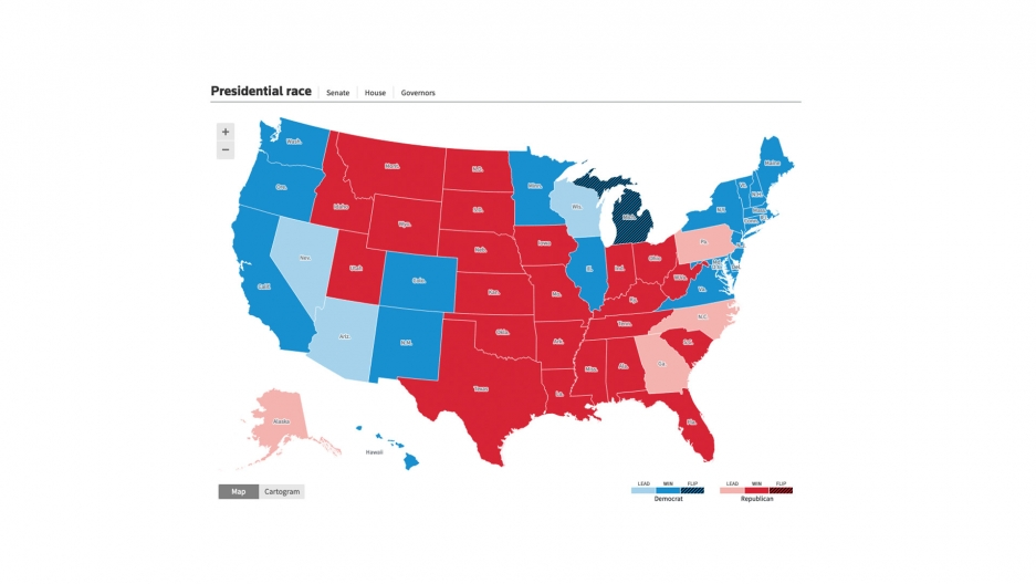 A map of the United States showing blue and red-colored states as the votes for the 2020 election are announced.
