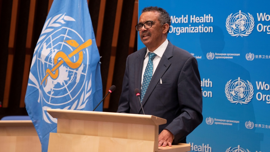 In this file photo, Tedros Adhanom Ghebreyesus, director general of World Health Organization (WHO) speaks at the virtual 73rd World Health Assembly (WHA) to address the coronavirus, in Geneva, Switzerland, May 18, 2020.