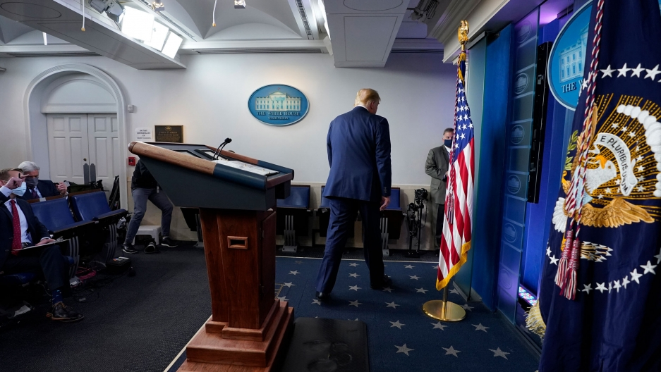 US President Donald Trump walks away after speaking at the White House, Nov. 5, 2020.