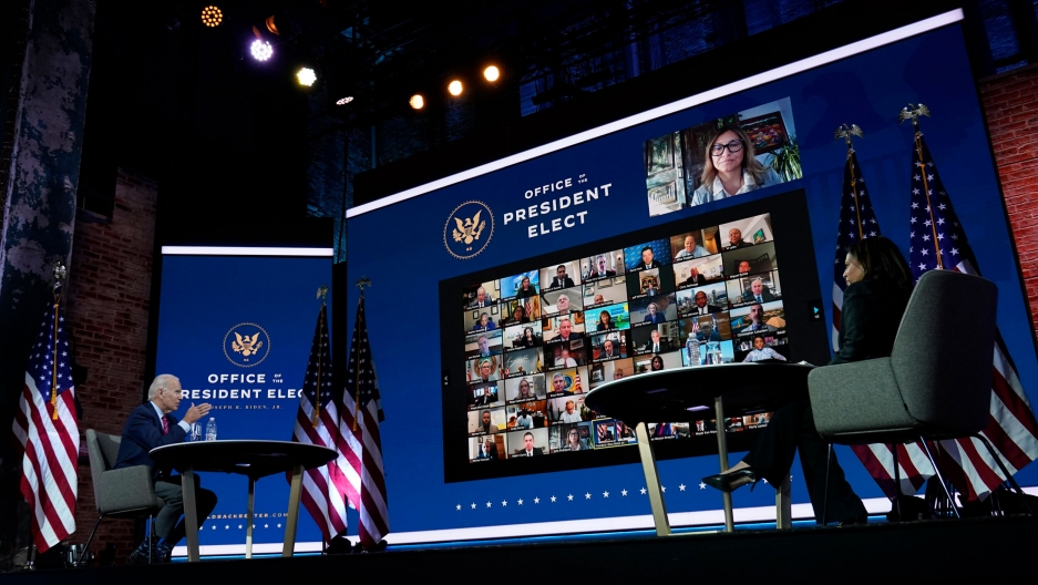 President-elect Joe Biden and Vice President-elect Kamala Harris meet virtually with the United States Conference of Mayors at The Queen theater in Wilmington, Del, Nov. 23, 2020.