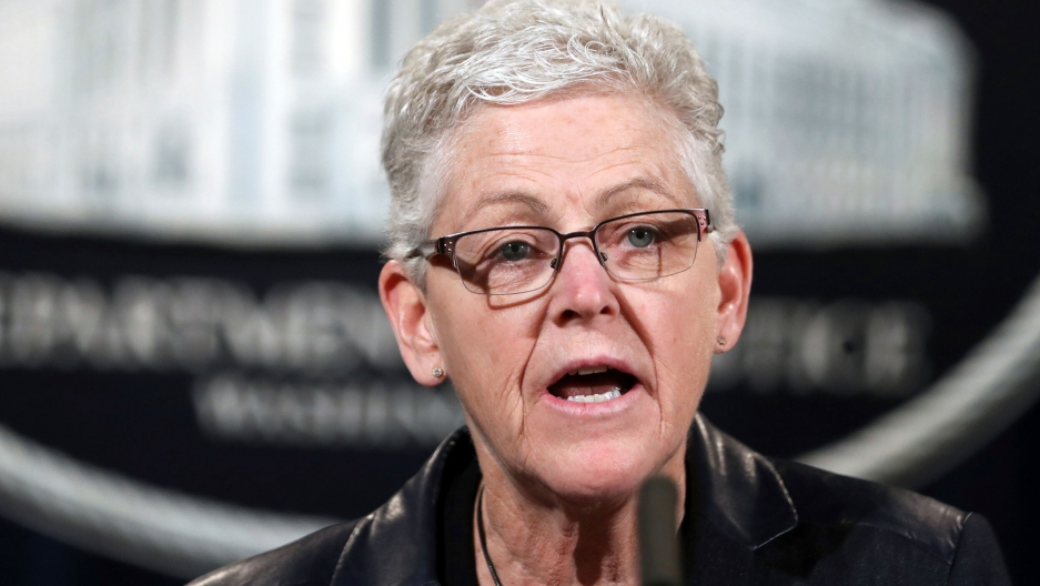 Then EPA Administrator Gina McCarthy, speaking during a news conference at the Justice Department in Washington, 2017. President-elect Joe Biden is set to pick McCarthy as domestic climate czar.