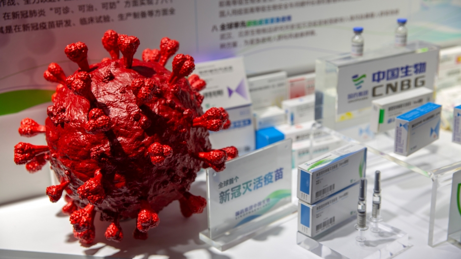 A model of the coronavirus in red is displayed next to boxes of COVID-19 vaccines