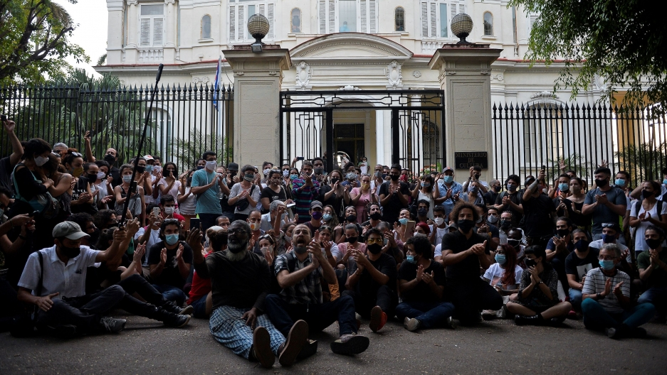 A group of young intellectuals and artists demonstrates at the doors of the Ministry of Culture during a protest in Havana on Nov. 27.