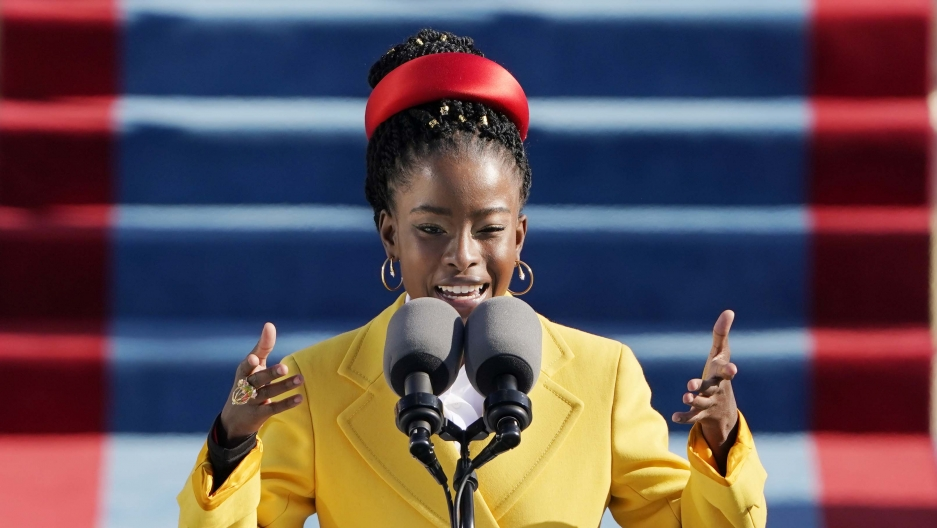 American poet Amanda Gorman reads a poem during the 59th Presidential Inauguration at the US Capitol in Washington, Jan. 20, 2021.