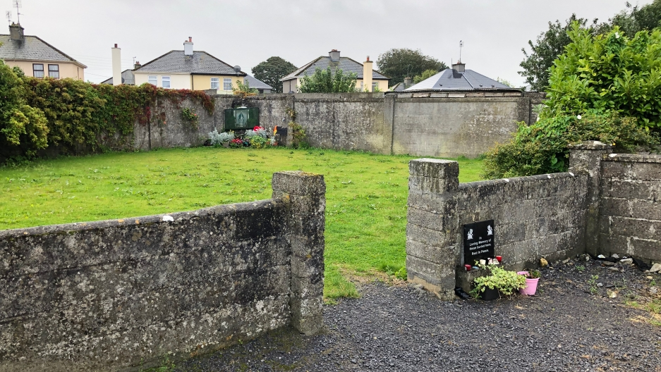 View of the mass grave at the Bon Secours mother-and-baby Home, Tuam County Galway Republic of Ireland.