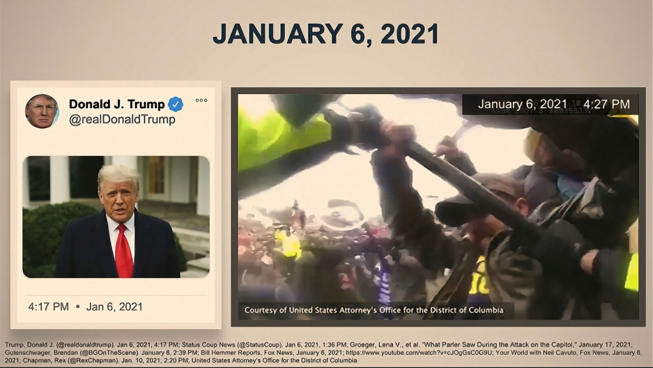 A video tweet from former President Donald Trump is shown on a screen next to another video of protesters fighting with security authorities.