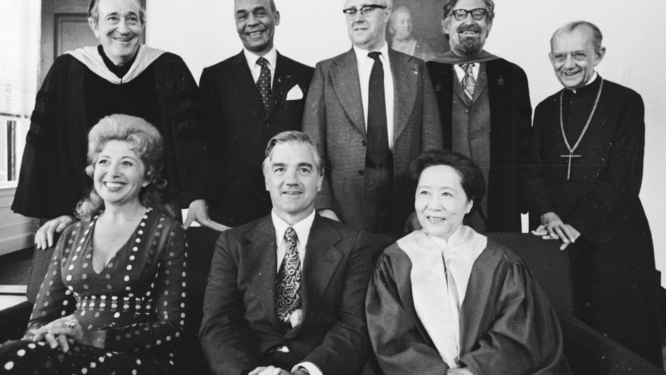 Chien Shiung Wu (bottom, right), then-professor of Columbia University New York, receives an honorary degree along with other recipients at Harvard Universityon June 14, 1974, in Cambridge, Massachusetts.