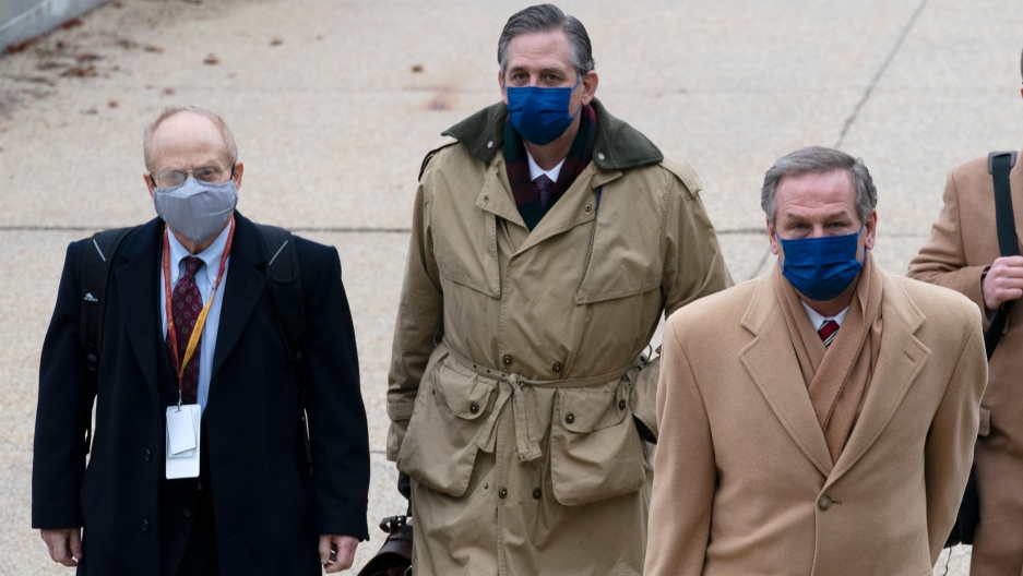 From left, David Schoen, Bruce Castor and Michael van der Veen, lawyers for former President Donald Trump, arrive at the US Capitol on the third day of the second impeachment trial.