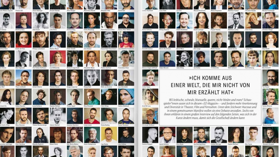 On the front page of Süddeutsche Zeitung Magazin, one of Germany's largest publications, 185 actorshave come outas LGBTQ.