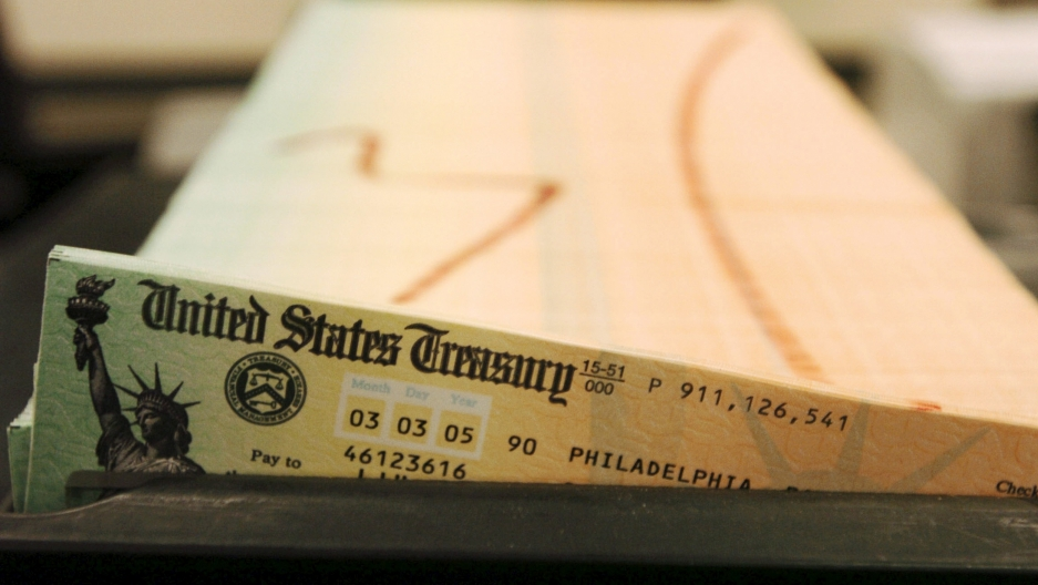 trays of printed social security checks from the US Treasury