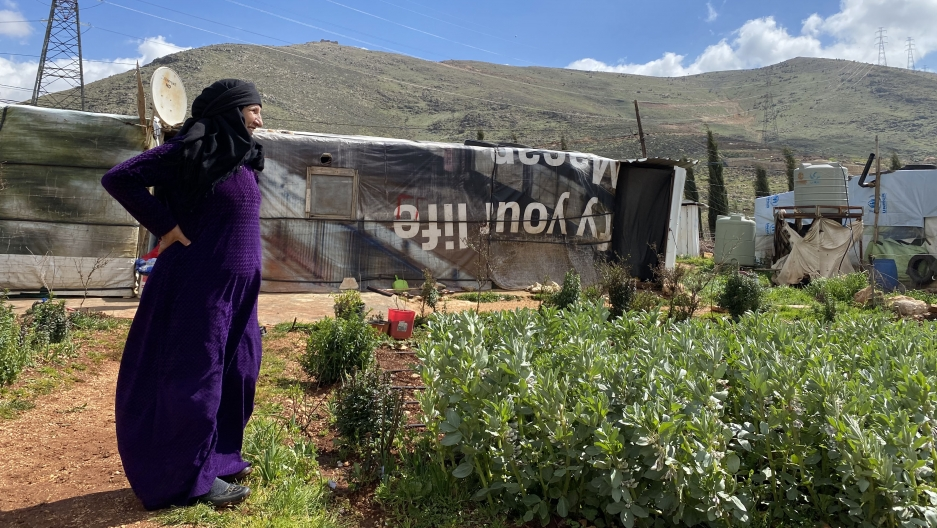 Bashil el-Ahmad stands next to her garden with the mountains behind her marking the Syrian border.