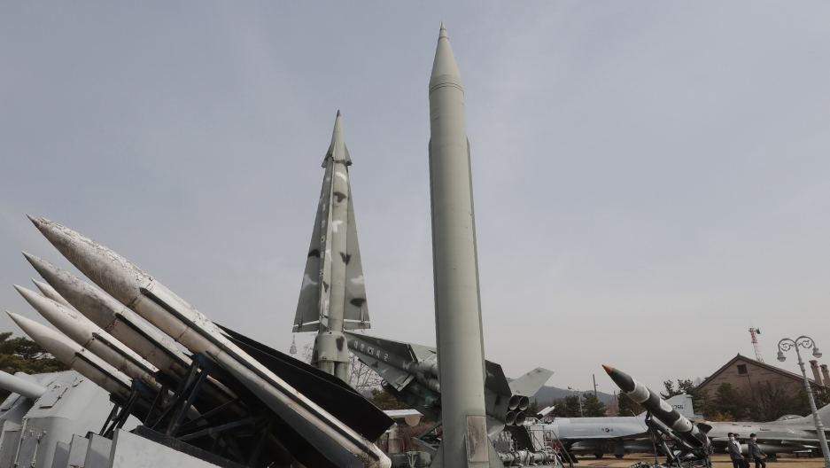 A mock North Korea's Scud-B missile, center right, and South Korean missiles are displayed at Korea War Memorial Museum in Seoul, South Korea, Thursday, March 18, 2021.