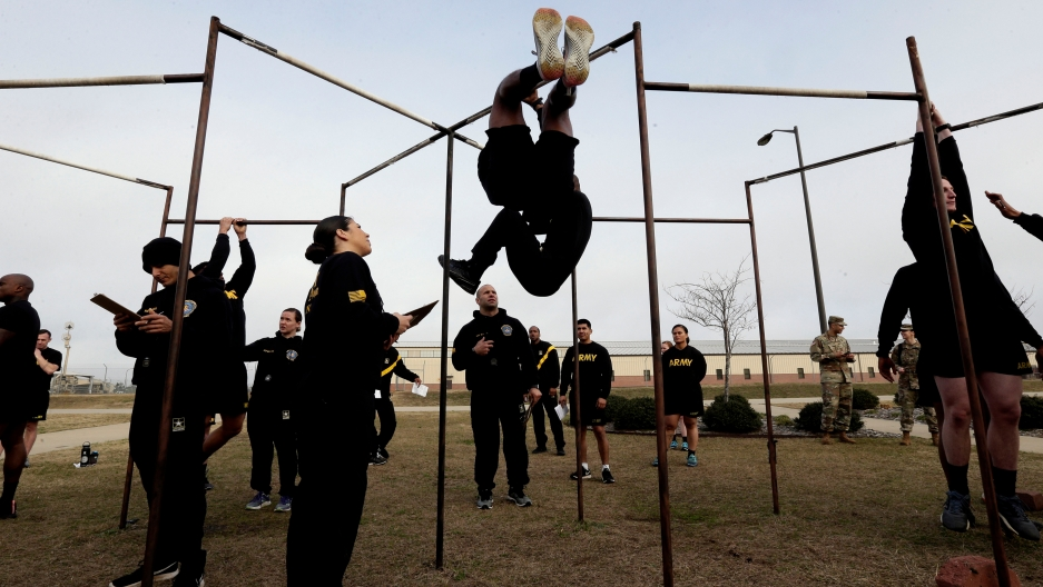 In this Jan. 8, 2019, file photo, US Army troops training to serve as instructors participate in the new Army combat fitness test at the 108th Air Defense Artillery Brigade compound at Fort Bragg, North Carolina.