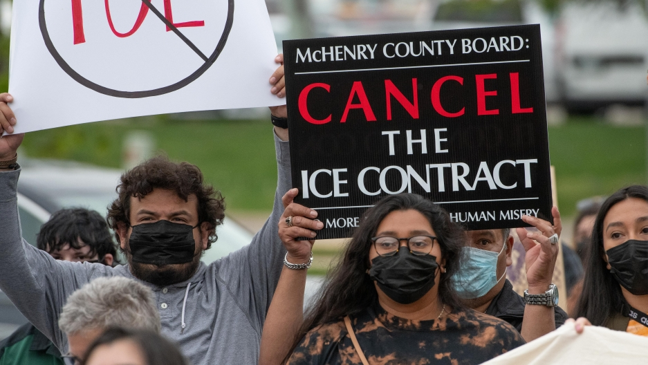 Advocates gather outside the county building in McHenry County, Woodstock, Illinois, on Tuesday, May 18, 2021.